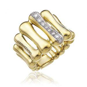 Anello Chimento Bamboo Over oro giallo e bianco - Gioielleria Senatore - www.gioielleriasenatore